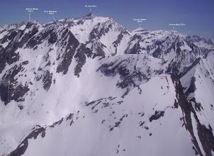 Photo: Vision aérienne annotée des faces nord du pic de Létious et du soum de Marraut
