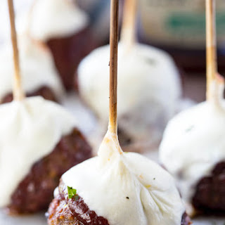 Smoked Hickory Meatball Skewers with Mozzarella.
