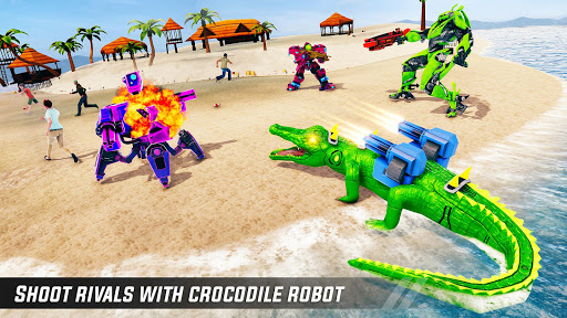 Crocodile Car Robot Simulator: Robot Endless War apktram screenshots 6