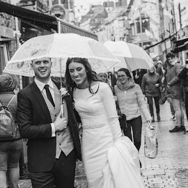 Won't rain on our parade by Paul Duane - Wedding Bride & Groom ( bride, groom, happy, weather, street photography, ireland )