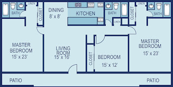 Go to Three Bed, Three Bath B Floorplan page.