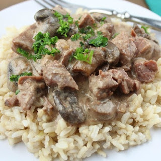 Creamy Beef Stroganoff with Rice