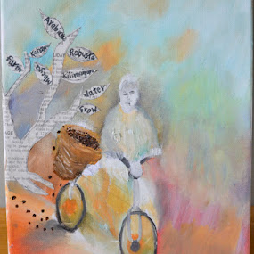 Tanzanian Pride by Shelina Khimji - Painting All Painting ( tree, farmer, coffee, tired, basket, canvas, newspaper, bicycle, oil,  )