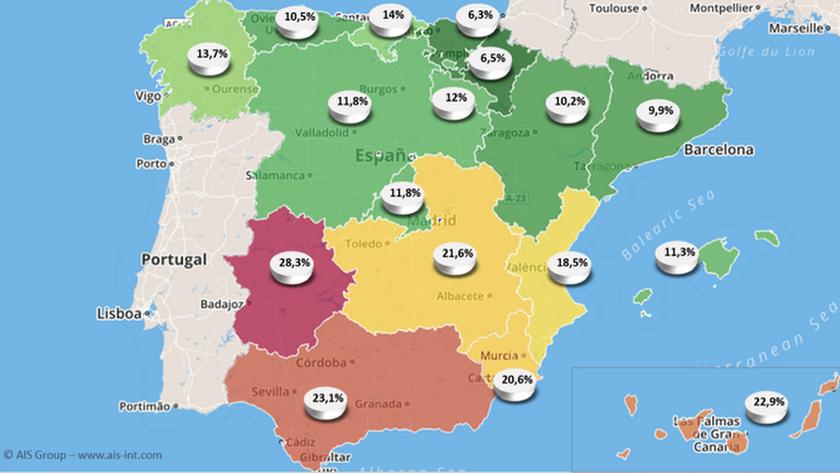 Mapa del riesgo de pobreza de los mayores de 65 años en España.