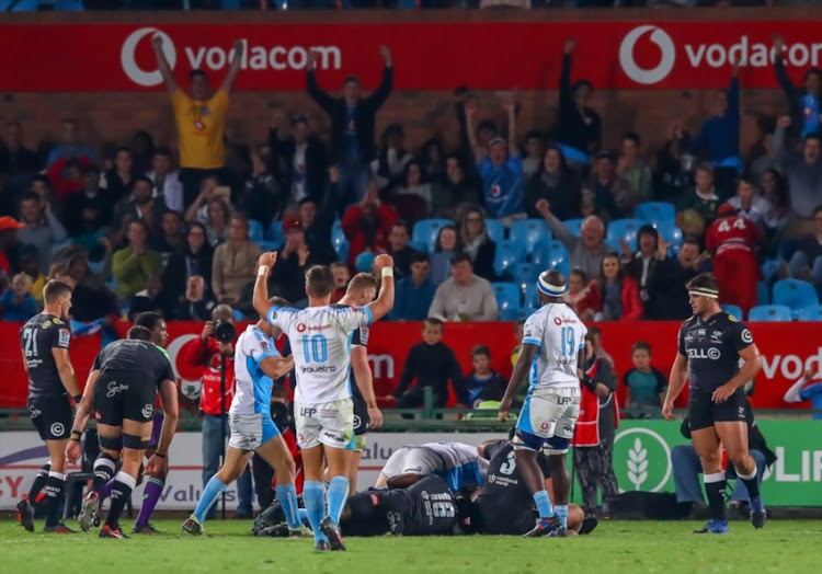 Lood de Jager of the Vodacom Bulls scores the final and decisive try of the game during the Super Rugby match between Vodacom Bulls and Cell C Sharks at Loftus Versfeld on May 12, 2018 in Pretoria, South Africa.