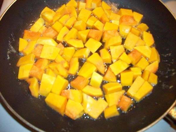 Peel and cube squash, about 3/4 in bite size pieces. Brown the butter in...