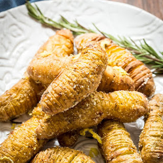 Air Fried Lemon Parmesan Hasselback Fingerling Potatoes
