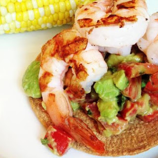 Avocado & Tomato Salad Topped with Grilled Shrimp