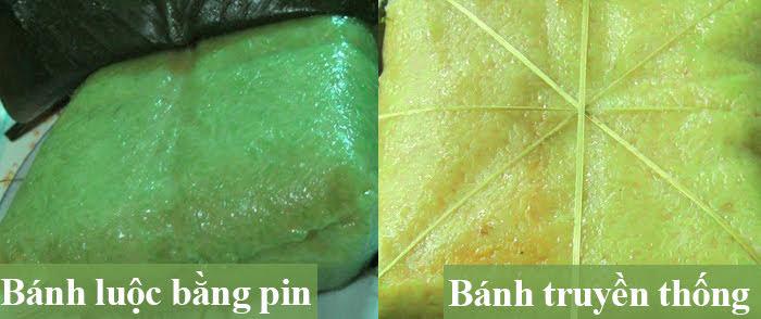 Cách nhận biết bánh chưng luộc bằng pin độc hại