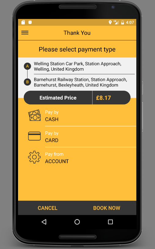 24Hr Central Booking App- screenshot