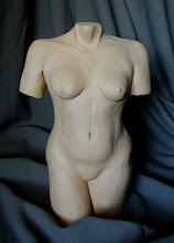 "Photo: Torso - 18"" tall - hi fire ceramic clay - ungalzed"