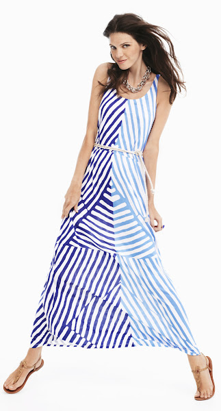 Photo: The built-in nautical rope belt and dramatic diagonal stripes make this maxi an entire easy summer outfit. Keep your look casual with a chunky chain necklace.