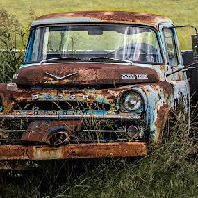 old truck by Dougetta Nuneviller - Transportation Automobiles ( clunker, field, old, truck, vintage, junker, automobile, vehicle, rust, antique, forgotten, abandoned )
