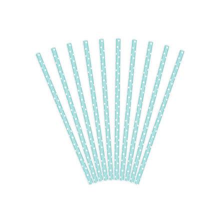 Sugrör - Himmelsblå med vita prickar