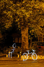 Photo: A man, A bike - Light painting by Christopher Hibbert, french photographer and light painter. Further information: http://www.christopher-hibbert.com