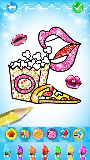 Glitter Lips with Makeup Brush Set coloring Game screenshot 6