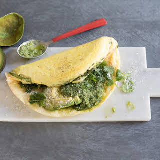 Asparagus Souffléd Omelet With Spicy Cilantro Sauce.