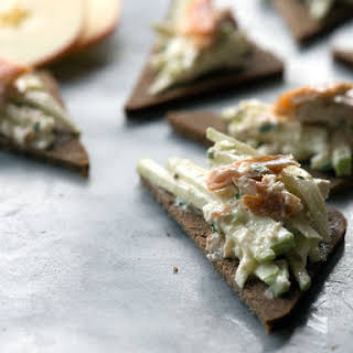 Creamy Smoked Trout with Apple and Horseradish on Crisp Brown Bread.