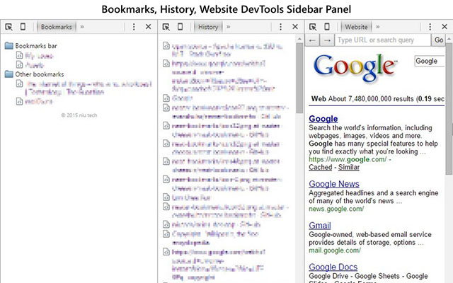 Bookmarks, History, Website DevTools Sidebar
