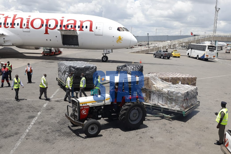 Jack Ma's donation to combat Covid-19 being offloaded from an Ethiopian Airlines plane at JKIA on Tuesday, March 24, 2020.