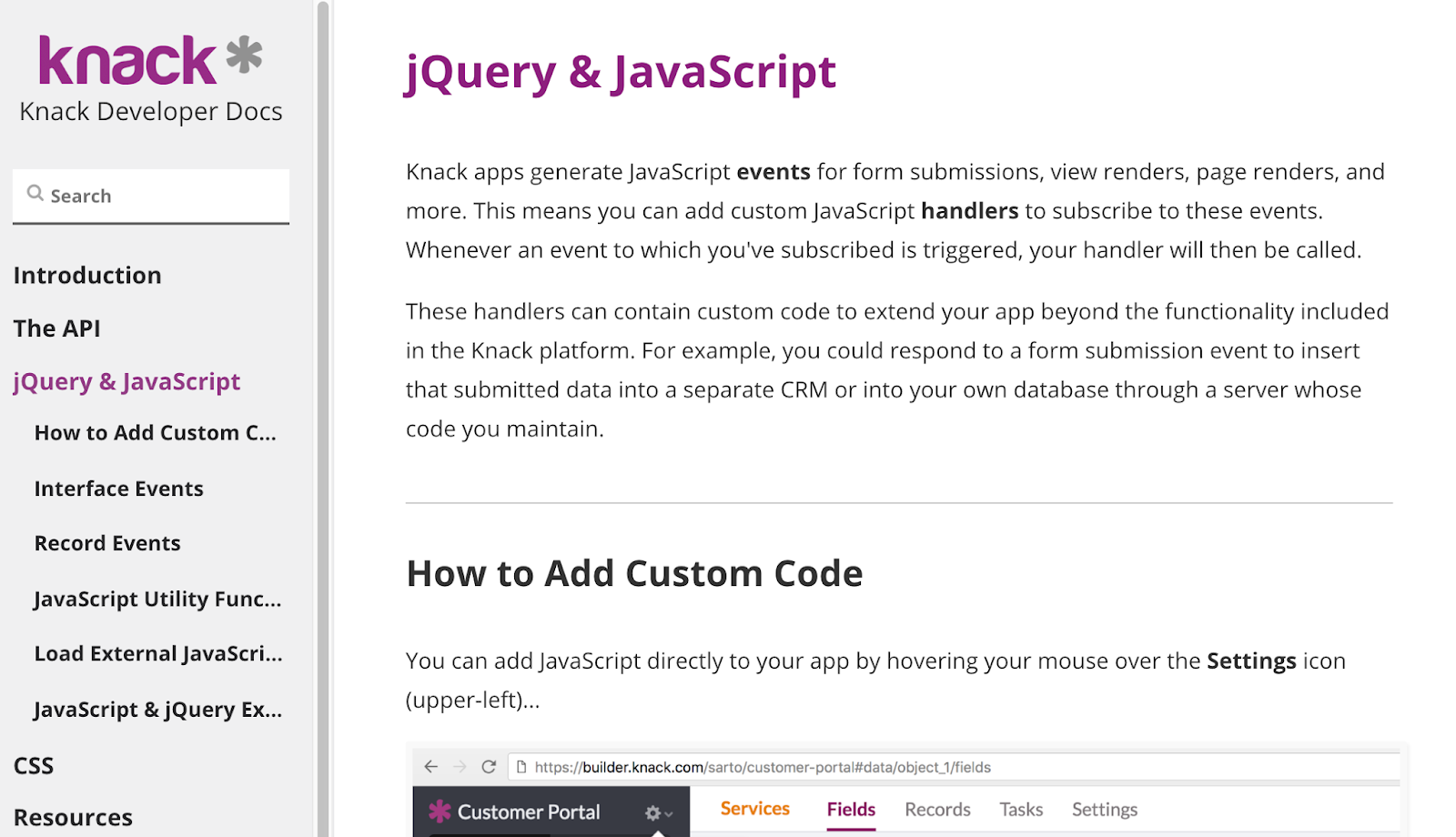 Screenshot of the jQuery and Javascript section of Knack's Developers Docs
