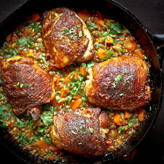 Crispy Berbere Chicken with Ethiopian Lentils.