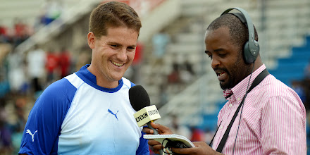 Photo: Leone Stars Head Coach Johnny McKinstry being interviewed for BBC.  [Leone Stars Training Camp in advance of Tunisia Game, June 2013 (Pic: Darren McKinstry)]