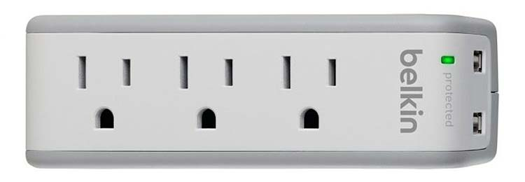 The Belkin Mini-Travel 3-Outlet Swivel Charger and Surge Protector.