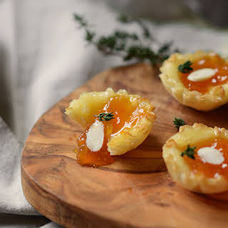 Almond Apricot and Brie Phyllo Cups.