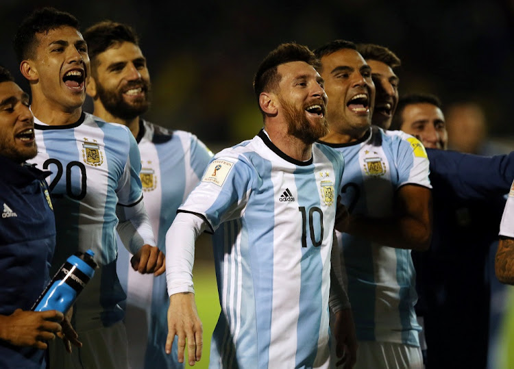 On a roll: Argentina's Lionel Messi and teammates celebrate at the end of their match against Ecuador on October 10, 2017. Picture: REUTERS