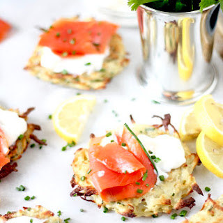 Baked Shredded Potato Pancakes with Greek Yogurt and Smoked Salmon