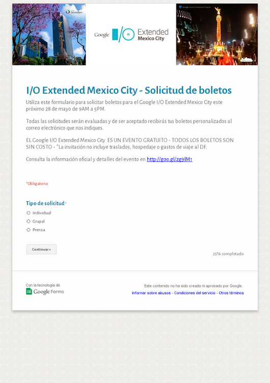 I/O Extended Mexico City - Solicitud de boletos