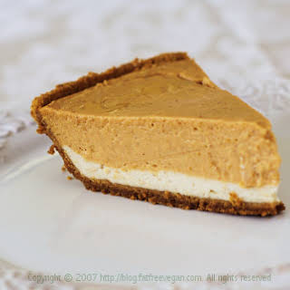 Vegan Double-Layer Pumpkin Cheesecake.