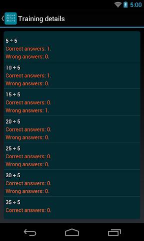 android Division Table Screenshot 4