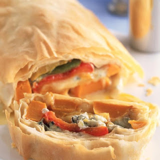 Pepper, Squash and Pine Nut Strudel