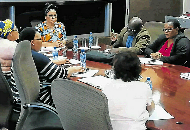 Water and sanitation deputy minister Pamela Tshwete addresses Ngqushwa municipality officials on Monday after allegations surfaced that business-people were deliberately damaging infrastructure and that water truck drivers were selling water to communities.