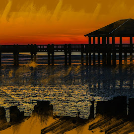 Sunrise Over Oceam Springs, MS. by Dave Walters - Digital Art Places ( piers, nature, colors, sunrise, lumix fz2500,  )
