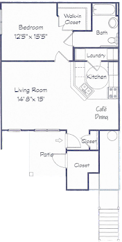 Go to One Bed, One Bath D Floorplan page.