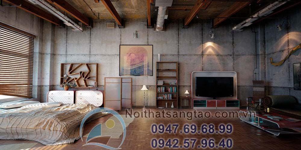 thiết kế nội thất kiểu công nghiệp
