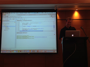 Photo: Mark Downey from Exo demoes Exo Cloud IDE debugging a Cloud based Java App