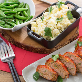 Turkey Meatloaf with Creamy Mashed Potatoes & Sauteed Snap Peas.
