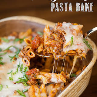 Cheesy Sausage Pasta Bake.