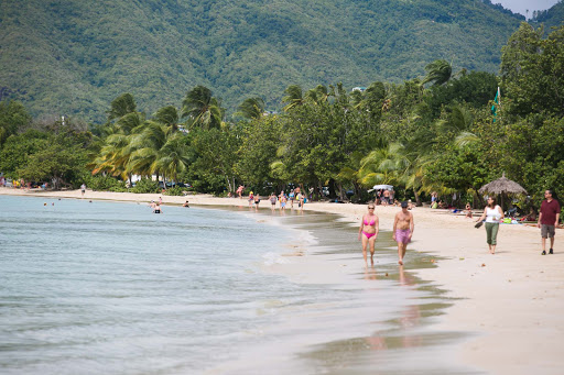 The scene along the beach in Le Marin, Martinique, where you're as likely to hear French as English.