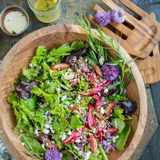 Green Salad with Roasted Rhubarb, Goat Cheese & Tarragon Vinaigrette