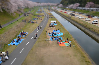 Photo: Tiny Hanami  Look at all the tiny people enjoying hanami in Okayama City! :)