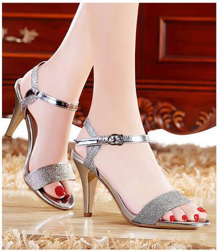 Giày Sandal đính Kim Tuyến Màu Bạc - Giày Dép Nữ