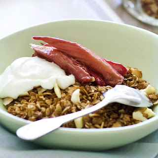 Cinnamon Apple Granola with Poached Rhubarb