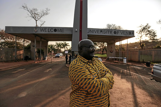 Professor  Peter Mbati in front of  the R6.1-million entrance.