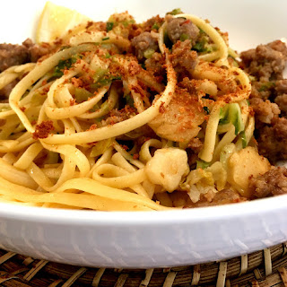 Spaghetti with Brussels Sprouts and Sausage with Panko Topping #SRC