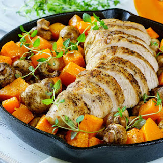 Turkey with Mushrooms & Butternut Squash Skillet (Delicious & Simple!).
